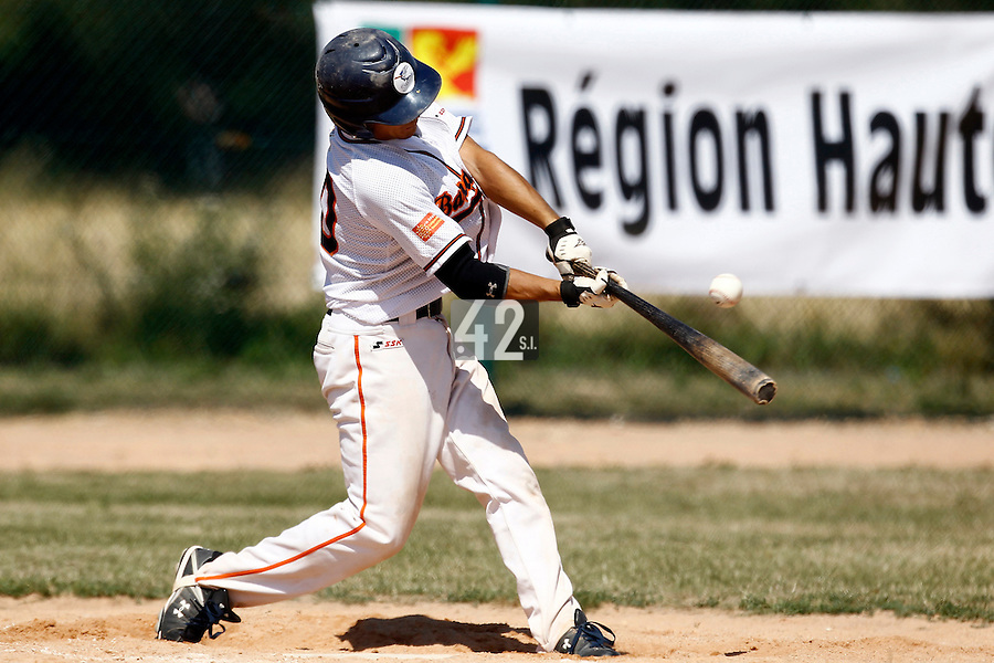 15 July 2011: Matt Lapinski of Montpellier is seen at bat during the 2011 Challenge de France match won 10-7 by the Montpellier Barracudas over Montigny Cougars, in Les Andelys, near Rouen, France.