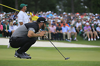 Dustin Johnson (USA) on the 18th green during the final round at the The Masters , Augusta National, Augusta, Georgia, USA. 14/04/2019.<br /> Picture Fran Caffrey / Golffile.ie<br /> <br /> All photo usage must carry mandatory copyright credit (© Golffile | Fran Caffrey)