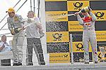 04.07.2010, Norisring, Nuernberg, GER, 4. DTM Lauf Norisring 2010, im Bild.Jamie Green (Junge Sterne AMG Mercedes) wird von Mattias Ekstroem (Audi Sport Team Abt Sportsline) nass gemacht.Foto: nph /  News