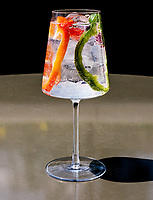 Bold gin tonic at Corrida Restaurant in Boulder, Colorado, August 23, 2018.<br /> <br /> Photo by Matt Nager