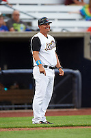 Quad Cities River Bandits manager Omar Lopez (43) during a game against the Bowling Green Hot Rods on July 24, 2016 at Modern Woodmen Park in Davenport, Iowa.  Quad Cities defeated Bowling Green 6-5.  (Mike Janes/Four Seam Images)