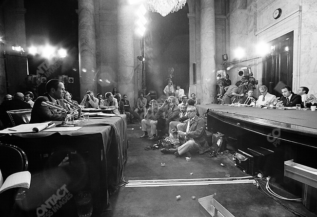 Fred Thompson (far right), Senate Watergate Committee's chief minority counsel, questioning H.R. Halderman, Nixion's cheif of staff, at the Watergate Hearings on Capitol Hill. Washington, D.C., August 1973.