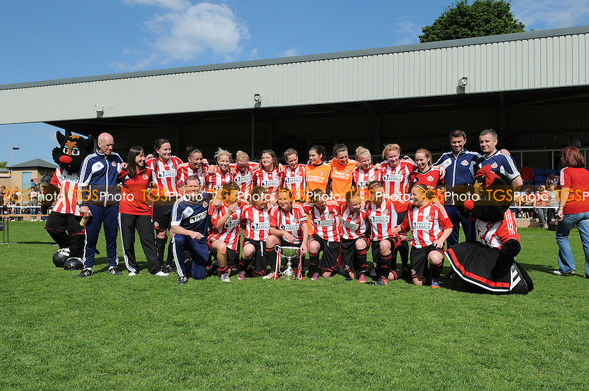 Sunderland celebrate with the league trophy - Sunderland Women vs Leeds United Ladies - FA Womens Premier League Football at the Hetton Centre - 26/05/13 - MANDATORY CREDIT: Steven White/TGSPHOTO - Self billing applies where appropriate - 0845 094 6026 - contact@tgsphoto.co.uk - NO UNPAID USE.