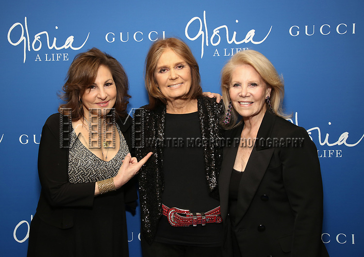 """Kathy Najimy, Gloria Steinem and Daryl Roth attends the Opening Night Performance of """"Gloria: A Life"""" on October 18, 2018 at the Daryl Roth Theatre in New York City."""