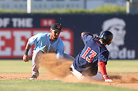 Jose Rondon #11 of the Inland Empire 66ers tags out Danry Vasquez #13 of the Lancaster JetHawks at second base during a game at The Hanger on May 26, 2014 in Lancaster, California. Lancaster defeated Inland Empire, 6-5. (Larry Goren/Four Seam Images)