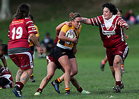 Krystal Rota of Manurewa is tackled by Natalia Tahana of Papakura (R). Premier Women's Rugby League, Papakura Sisters v Manurewa Wahine, Prince Edward Park, Auckland, Sunday 13th August 2017. Photo: Simon Watts / www.phototek.nz