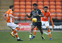 Bristol Rovers' Ellis Harrison battles with Blackpool's Jimmy Ryan (left) and Kelvin Mellor (right) <br /> <br /> Photographer Stephen White/CameraSport<br /> <br /> The EFL Sky Bet League One - Blackpool v Bristol Rovers - Saturday 13th January 2018 - Bloomfield Road - Blackpool<br /> <br /> World Copyright &copy; 2018 CameraSport. All rights reserved. 43 Linden Ave. Countesthorpe. Leicester. England. LE8 5PG - Tel: +44 (0) 116 277 4147 - admin@camerasport.com - www.camerasport.com
