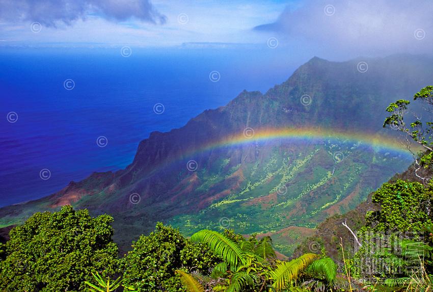Lush Kalalau valley with rainbow on Kauai's  na pali coastline