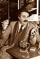 EXCLUSIVE File photo circa 1988.<br /> <br /> Nick Auf Der Mar photographed giving an interview, in a donwtown bar, while smoking and drinking beer<br /> <br /> A City councillor for Peter McGill disctrict has well as a journalist and columnist, he died of cancer  april 7th 1998, at age 55.<br /> <br /> His daughter Melissa Auf Der Maur achieved fame and fortune as bass guitar player for Hole, the band fronted by Courtney Love.<br /> <br /> <br /> photo (c)  Images Distribution