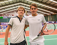 Wateringen, The Netherlands, December 8,  2019, De Rhijenhof , NOJK juniors 14 and18 years, Finals 18 years:  Stijn Pel (NED) (R) and Guy den Ouden (NED)<br /> Photo: www.tennisimages.com/Henk Koster