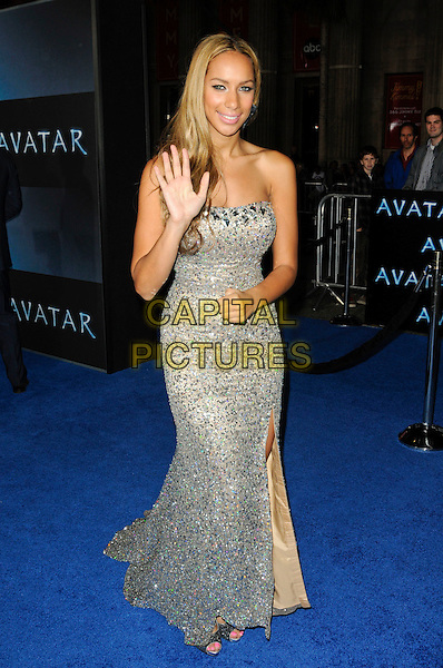 "LEONA LEWIS.The Los Angeles premiere of ""Avatar"" at Grauman's Chinese Theatre in Hollywood, California, USA..December 16th, 2009.full length silver strapless dress maxi slit split beige beaded sparkly jewel encrusted embellished hand palm waving .CAP/ROT.©Lee Roth/Capital Pictures"