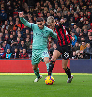 Bournemouth's David Brooks (right) battles with Arsenal's Sead Kolasinac (left) <br /> <br /> Photographer David Horton/CameraSport<br /> <br /> The Premier League - Bournemouth v Arsenal - Sunday 25th November 2018 - Vitality Stadium - Bournemouth<br /> <br /> World Copyright &copy; 2018 CameraSport. All rights reserved. 43 Linden Ave. Countesthorpe. Leicester. England. LE8 5PG - Tel: +44 (0) 116 277 4147 - admin@camerasport.com - www.camerasport.com