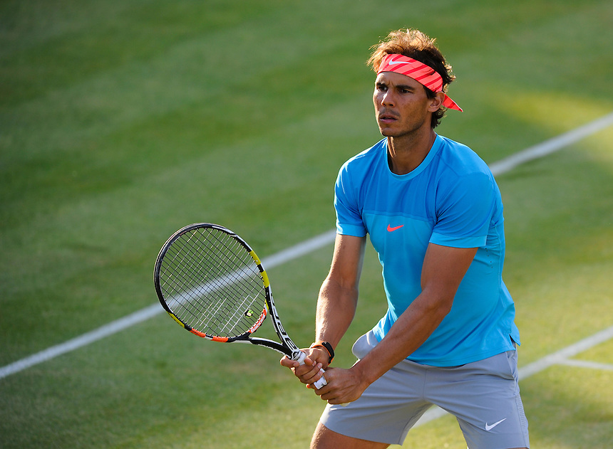 Rafael Nadal (ESP) with partner Marc Lopez (ESP) (out of shot) during their defeat by Daniel Nestor (CAN) and Leander Pais (IND) in their Men&rsquo;s Singles Second Round match - 7-6, 6-4<br /> <br /> Photographer Ashley Western/CameraSport<br /> <br /> Tennis - ATP 500 World Tour - AEGON Championships- Day 4 - Thursday 18th June 2015 - Queen's Club - London <br /> <br /> &copy; CameraSport - 43 Linden Ave. Countesthorpe. Leicester. England. LE8 5PG - Tel: +44 (0) 116 277 4147 - admin@camerasport.com - www.camerasport.com