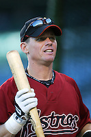 Craig Biggio of the Houston Astros during batting practice before a game from the 2007 season at Angel Stadium in Anaheim, California. (Larry Goren/Four Seam Images)