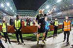 Stockholm 2014-04-16 Fotboll Allsvenskan Djurg&aring;rdens IF - AIK :  <br /> AIK:s Nils-Eric Johansson jublar med AIK supportrar nedanf&ouml;r Norra l&auml;ktaren p&aring; Tele2 Arena<br /> (Foto: Kenta J&ouml;nsson) Nyckelord:  Djurg&aring;rden DIF Tele2 Arena AIK jubel gl&auml;dje lycka glad happy