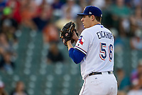 Round Rock Express pitcher Jerad Eickhoff (56) looks to his catcher for the sign during the Pacific Coast League baseball game against the Oklahoma City Dodgers on June 9, 2015 at the Dell Diamond in Round Rock, Texas. The Dodgers defeated the Express 6-3. (Andrew Woolley/Four Seam Images)