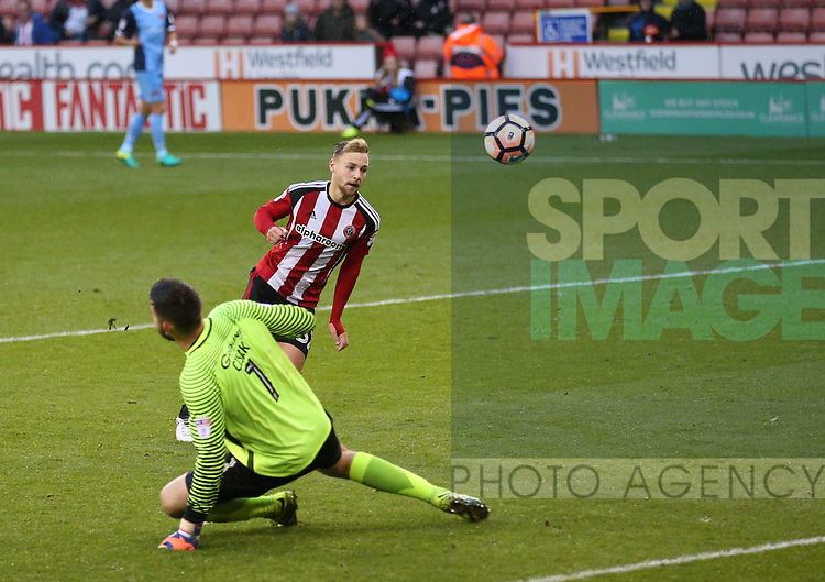 Harry Chapman of Sheffield Utd scores  his hat trick goal during the Emirates FA Cup Round One match at Bramall Lane Stadium, Sheffield. Picture date: November 6th, 2016. Pic Simon Bellis/Sportimage