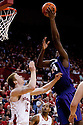 23 February 2011: Curtis Kelly #24 of the Kansas State Wildcats goes over the top of Brandon Ubel #13 of the Nebraska Cornhuskers during the first half at the Devaney Sports Center in Lincoln, Nebraska. Kansas State defeated Nebraska 61 to 57.