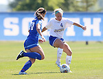 BROOKINGS, SD - SEPTEMBER 4:  Shelby Raper #4 from South Dakota State controls the ball in front of Lauren Sullivan #20 from Creighton during their match Sunday afternoon at Fischback Soccer Complex in Brookings. (Photo by Dave Eggen/Inertia)