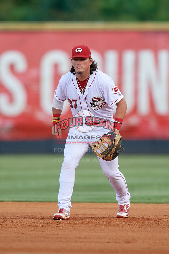 Greeneville Reds first baseman Rylan Thomas (37) during a game against the Pulaski Yankees on July 27, 2018 at Pioneer Park in Tusculum, Tennessee.  Greeneville defeated Pulaski 3-2.  (Mike Janes/Four Seam Images)