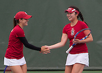 STANFORD, CA - May 14, 2011:  Nicole Gibbs and Veronica Li during Stanford's 4-0 win over Illinois-Chicago in the first round of the NCAA Tournament in Stanford, California on May 14, 2011.