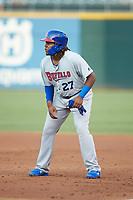 Vladimir Guerrero Jr. (47) of the Buffalo Bison takes his lead off of first base against the Charlotte Knights at BB&T BallPark on August 14, 2018 in Charlotte, North Carolina. The Bison defeated the Knights 14-5.  (Brian Westerholt/Four Seam Images)