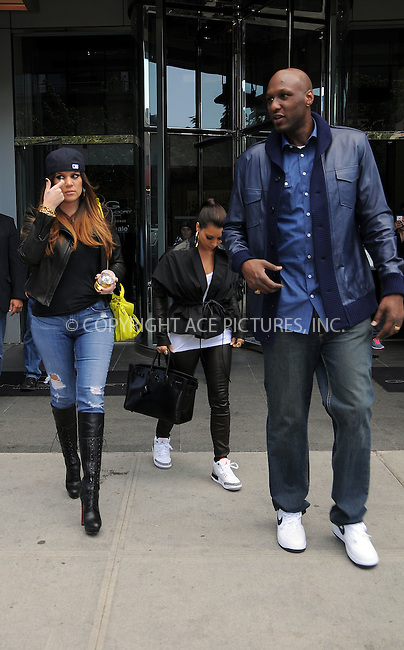 WWW.ACEPIXS.COM . . . . .  ....April 27 2012, New York City....Khloe Kardashian, Kim Kardashian and Lamar Odom leave their downtown hotel on April 27 2012 in New York City....Please byline: CURTIS MEANS - ACE PICTURES.... *** ***..Ace Pictures, Inc:  ..Philip Vaughan (212) 243-8787 or (646) 769 0430..e-mail: info@acepixs.com..web: http://www.acepixs.com