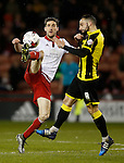 Chris Basham of Sheffield Utd and Robbie Weir of Burton Albion - English League One - Sheffield Utd vs Burton Albion - Bramall Lane Stadium - Sheffield - England - 1st March 2016 - Pic Simon Bellis/Sportimage