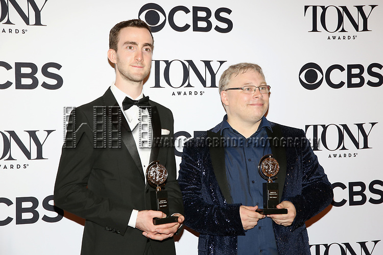 NEW YORK, NY - JUNE 11:  Pete Malkin and Gareth Fry pose with awards at the 71st Annual Tony Awards, in the press room at Radio City Music Hall on June 11, 2017 in New York City.  (Photo by Walter McBride/WireImage)