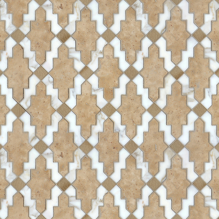 Navarra, a waterjet stone mosaic, shown in honed Lagos Gold and Lavigne with polished Calacatta Tia, is part of the Miraflores Collection by Paul Schatz for New Ravenna.