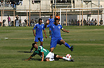 Players from Rafah Youth Club play against the players from Rafah Services Club during a football match in the League Cup of the Gaza Strip at Rafah Municipality Stadium in the southern Gaza Strip on May 30, 2012. Photo by Eyad Al Baba