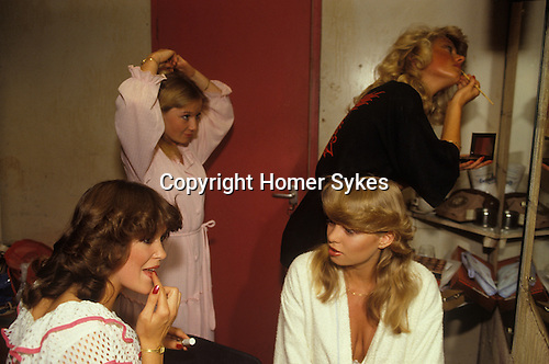 Miss Crawley,Beaauty Competition. Back stage in a girls dressing room Surrey England UK 1980s.