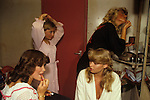 Miss Camberley ,Beauty Competition. Back stage in a girls dressing room Surrey England UK 1980s.
