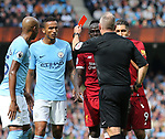 Red card for Sadio Mane of Liverpool during the premier league match at the Etihad Stadium, Manchester. Picture date 9th September 2017. Picture credit should read: David Klein/Sportimage