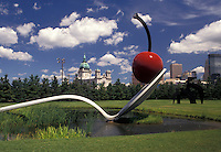 "AJ2861, Minneapolis, spoon, cherry, Twin Cities, Minnesota, """"Spoonbridge and Cherry Sculpture"""" in the Minneapolis Sculpture Garden at the Walker Art Center with a view of the skyline of downtown Minneapolis in the state of Minnesota."