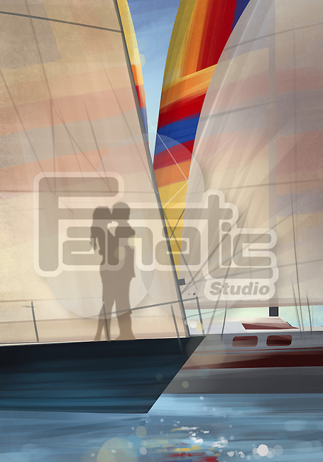 Illustration of couple's shadow kissing on yacht