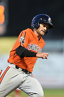 Aberdeen IronBirds shortstop Justin Viele (11) running the bases during a game against the Williamsport Crosscutters on August 4, 2014 at Bowman Field in Williamsport, Pennsylvania.  Aberdeen defeated Williamsport 6-3.  (Mike Janes/Four Seam Images)