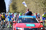 Christian Prudhomme ASO waves the flag for the start of the 116th edition of Paris-Roubaix 2018. 8th April 2018.<br /> Picture: ASO/Pauline Ballet | Cyclefile<br /> <br /> <br /> All photos usage must carry mandatory copyright credit (&copy; Cyclefile | ASO/Pauline Ballet)