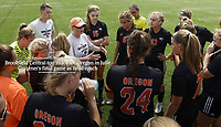 Oregon head coach, Julie Grutzner, talks to players before the game on Saturday. Brookfield Central goes on to win over Oregon 2-0 in the Division 2 Wisconsin girls state high school soccer championship at KOHLER Engines Stadium at Uihlein Soccer Park on Saturday, 6/16/18, in Milwaukee | Wisconsin State Journal article in Sports 6/17/18 and online at https://host.madison.com/wsj/sports/high-school/soccer/brookfield-central-too-much-for-oregon-in-julie-grutzner-s/article_5e36a933-3b1b-5b98-98c2-a004a70086c0.html