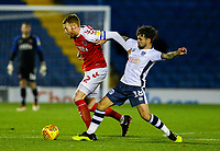 Fleetwood Town's Cian Bolger holds off the challenge from Bury's Dom Telford<br /> <br /> Photographer Alex Dodd/CameraSport<br /> <br /> The EFL Checkatrade Trophy Group B - Bury v Fleetwood Town - Tuesday 13th November 2018 - Gigg Lane - Bury<br />  <br /> World Copyright &copy; 2018 CameraSport. All rights reserved. 43 Linden Ave. Countesthorpe. Leicester. England. LE8 5PG - Tel: +44 (0) 116 277 4147 - admin@camerasport.com - www.camerasport.com