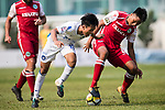 Chen Pujai R&F F.C (C) fights for the ball with Hok Ming Lau of Kwoon Chung Southern (R) and Marc Martinez of Kwoon Chung Southern (L) during the week three Premier League match between Kwoon Chung Southern and R&F at Aberdeen Sports Ground on September 16, 2017 in Hong Kong, China. Photo by Marcio Rodrigo Machado / Power Sport Images