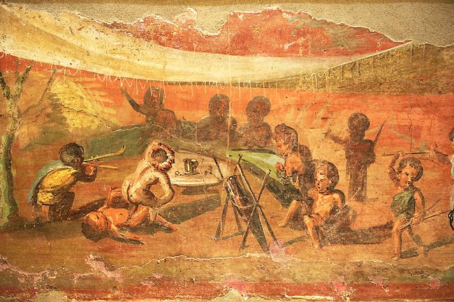 Roman Erotic  fresco with pigmies from Csa Detto del Medico Peristyle in Pompeii. 50-97 AD, Naples Archaological Museum inv no: 113196
