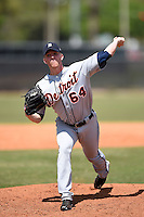 Detroit Tigers pitcher Ryan Longstreth (64) during a minor league spring training game against the Houston Astros on March 21, 2014 at Osceola County Complex in Kissimmee, Florida.  (Mike Janes/Four Seam Images)