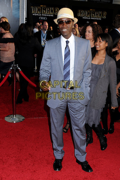 "DON CHEADLE .""Iron Man 2"" World Premiere held at the El Capitan Theatre, Hollywood, California, USA, 26th April 2010..arrivals full length hat straw sunglasses white shirt tie grey gray ray bans hand in pocket .CAP/ADM/BP.©Byron Purvis/AdMedia/Capital Pictures."