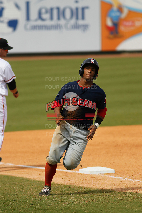 Salem Red Sox catcher Jhon Nunez (2) running the bases during a game against the Down East Wood Ducks  at Grainger Stadium on April 16, 2017 in Kinston, North Carolina. Salem defeated Down East 9-2. (Robert Gurganus/Four Seam Images)