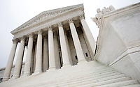 """US Supreme Court   Washington DC<br /> The Supreme Court building, located on Capitol Hill in Washington DC,  is the seat of the Supreme Court of the United States. It is situated in Washington, D.C one block east of the United States Capitol.  Architectural detail of the west façade includes striking columns and bears the motto """"Equal Justice Under Law,"""".  A national icon and popular tourist attraction in Washington DC."""