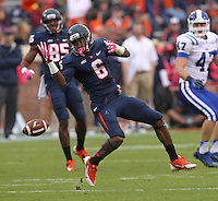 Virginia wide receiver Darius Jennings (6) Duke defeated Virginia 35-22 at Scott Stadium in Charlottesville, VA. . Photo/Andrew Shurtleff