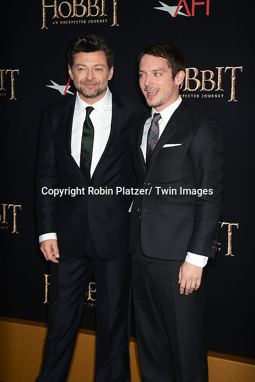 "Andy Serkis and Elijah Wood attends the US Premiere of ""The Hobbit"" on December 6, 2012 at the Ziegfeld Theatre in New York City."