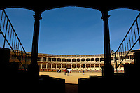 Inside the Plaza de Toros de Ronda, a bullring arena in Ronda, Andalusia, Spain.