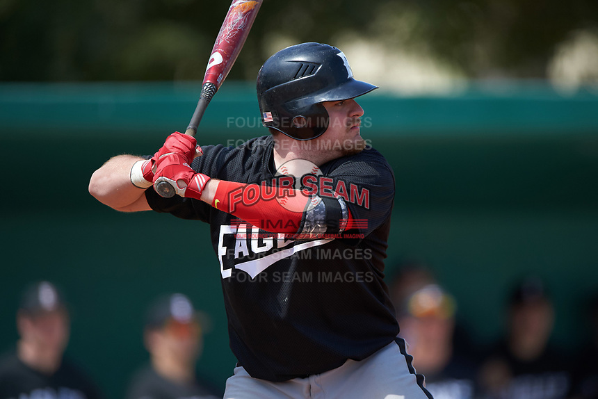 Edgewood Eagles Jacob Yellovich (34) at bat during the second game of a doubleheader against the Lasell Lasers on March 14, 2016 at Terry Park in Fort Myers, Florida.  Edgewood defeated Lasell 10-2.  (Mike Janes/Four Seam Images)